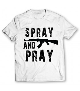 spray and pray printed graphic t-shirt