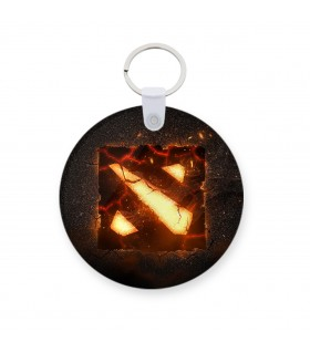 Dota 2 burning printed keychain