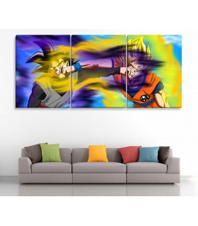 set of 3 goku canvas frames