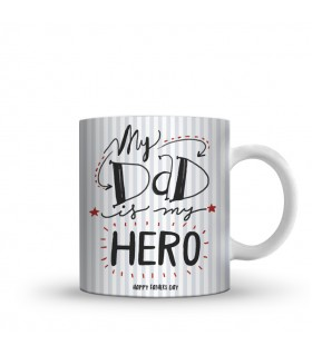 dad is my hero printed mug