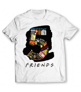 5 friends printed graphic t-shirt