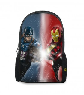 captain america and iron man printed backpacks