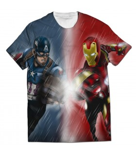 captain america and iron man all over printed t-shirt