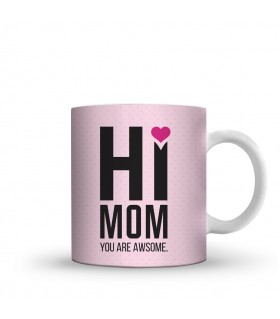 hi mom printed mug