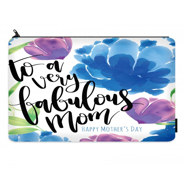 fabulous mom printed makeup pouch