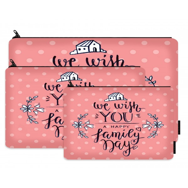 family day printed makeup pouch