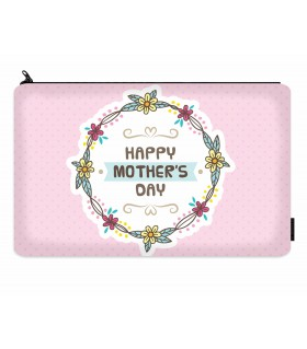 happy mothers day floral printed makeup pouch