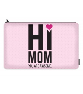 hi mom printed makeup pouch