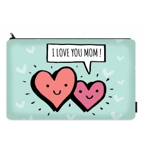 i love you mom printed makeup pouch