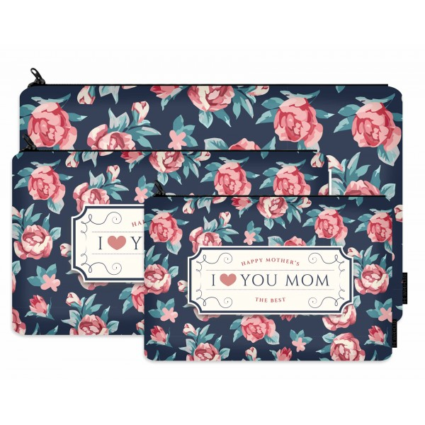 love you mom printed makeup pouch