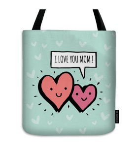 i love you mom printed tote bag