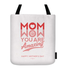 wow mom printed tote bag