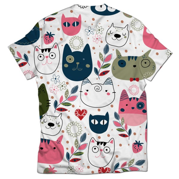 cats pattern all over printed t-shirt