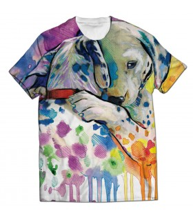 dog hug all over printed t-shirt