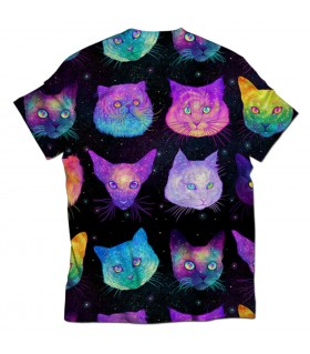 galaxy cats all over printed t-shirt
