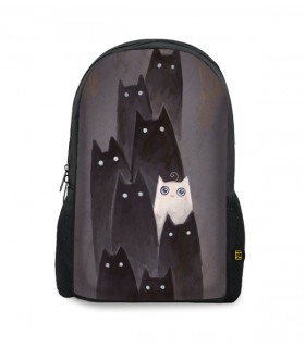 Black and White Cat printed backpacks
