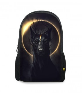 black dog printed backpacks