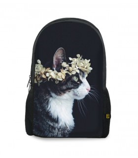 flower crown cat printed backpacks