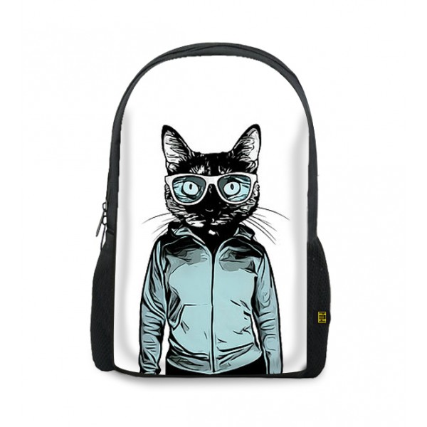 glasses cat printed backpacks