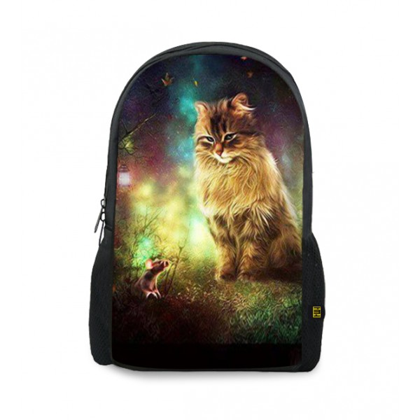glowing cat printed backpacks