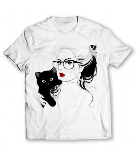 girl and cat printed graphic t-shirt