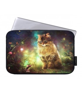 glowing cat printed laptop sleeves