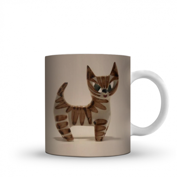 brown cat printed mug