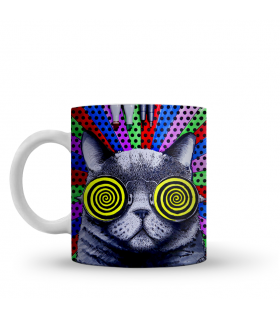 trippy cat printed mug