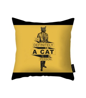 a cat person printed pillow