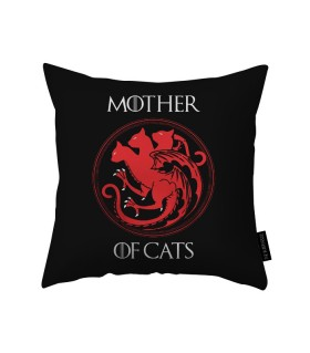 mother of cats printed pillow