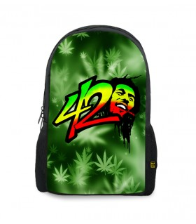 bob marley 420 printed backpacks
