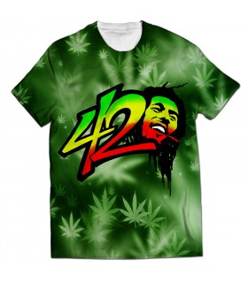bob marley 420 all over printed t-shirt