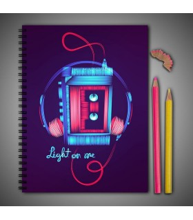 glow headphone art printed notebook
