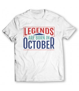 legends are born in october printed graphic t-shirt