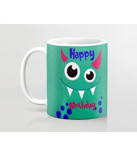 cute monter happy birthday printed mug