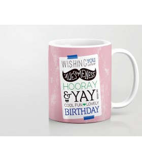 Awesome happy birthday printed mug