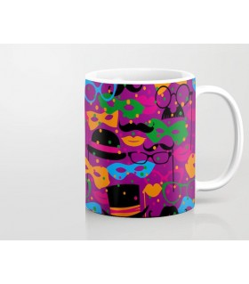 colorful carnival masks printed mug
