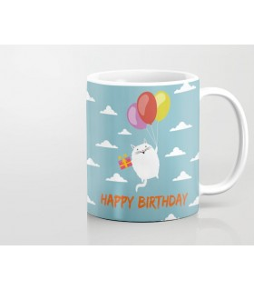 cat happy birthday printed mug