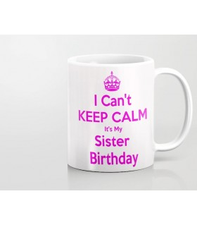 keep calm happy birthday printed mug