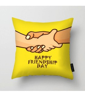best friends hand printed pillow