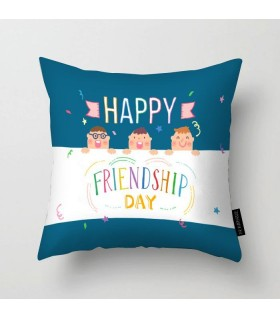 happy colorful friendship day printed pillow
