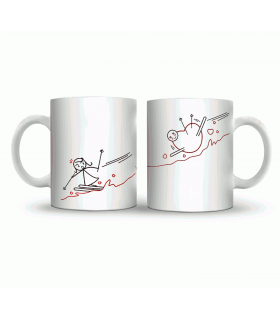 ice skating couple art printed mug