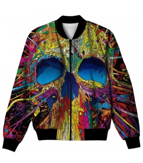 Colorful skull all over printed jacket