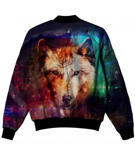 Multicolor wolf all over printed jacket