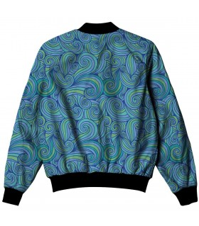 blue swirl pattern all over printed jacket