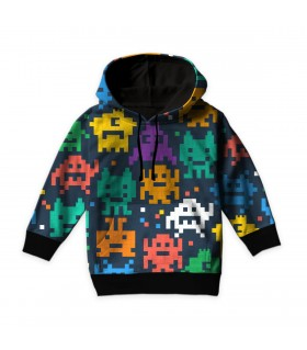 Pixelated monster kids hoodie
