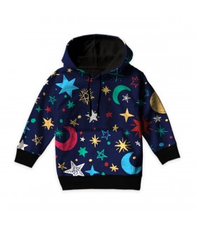 colorful moon and stars kids hoodie