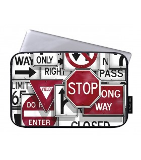 red stop wrong way art printed laptop sleeves