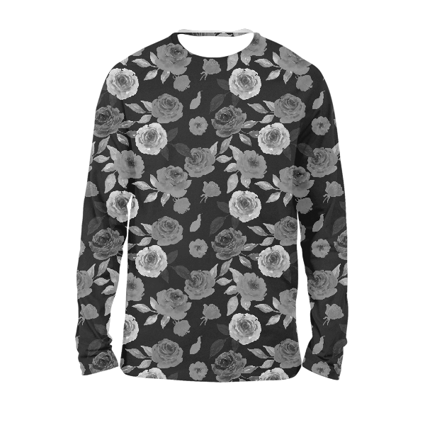 Black Floral Full Sleeves T-Shirts