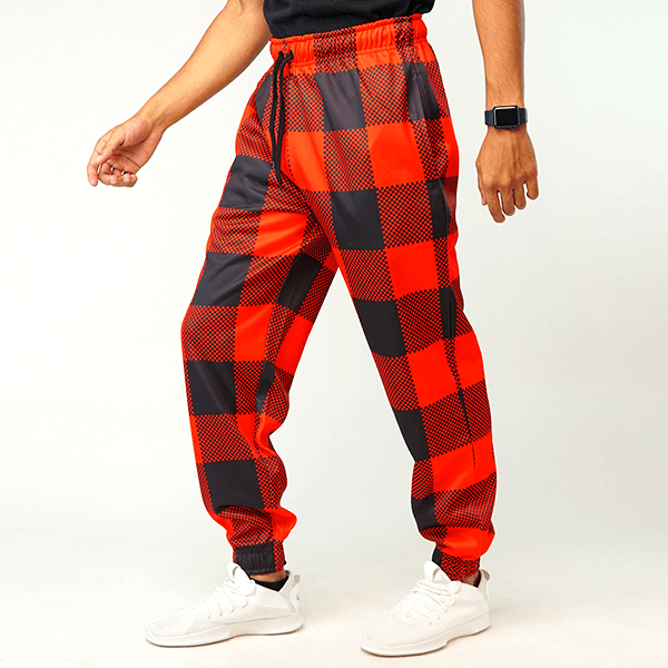 Red And Black Check Jogger Pant